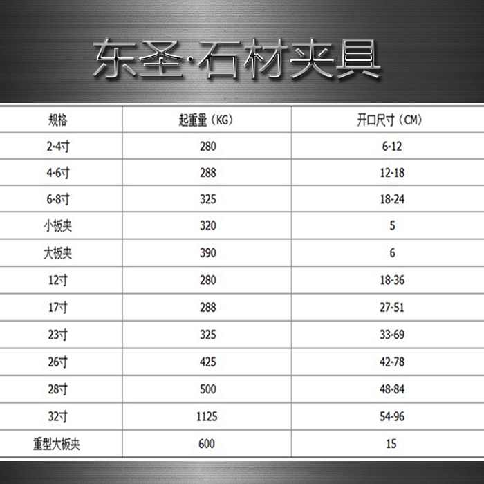石材夹具规格参数列表