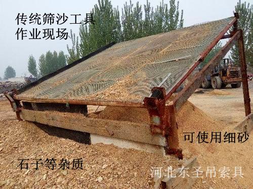 传统筛沙工具使用现场,低效且细砂质量差